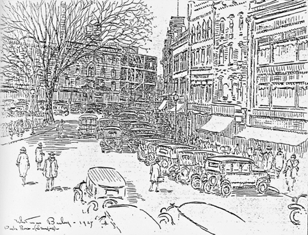 Whitman Bailey sketch: View of Park Row, 1927