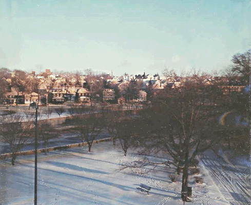 View of Mill River from the Roger Smith Hotel, November 30, 1967