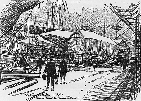 Winter Scene on Brush Island, drawing by Whitman Bailey