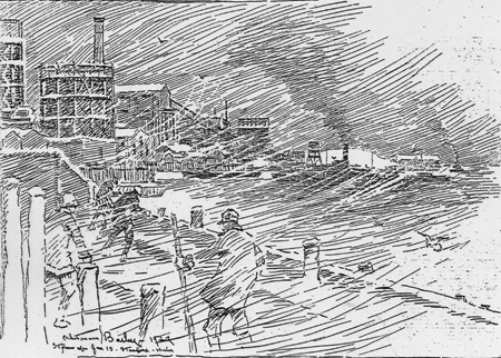 Whitman Bailey sketch, snow storm at Waterside Harbor, January 15, 1926
