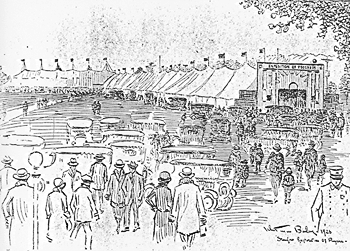 Artist's Sketch of Scene Outside Big Exposition Tent 1926