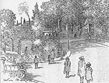 Artist's Sketch Looking Down South Street from Rice School