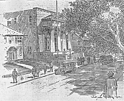 Artist's Sketch of Masonic Temple on Bedford Street