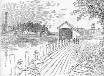 Artist's View of Old Cove Mill Harbor, 1931, click to enlarge